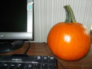 Every October I have a small pumpkin on my desk.